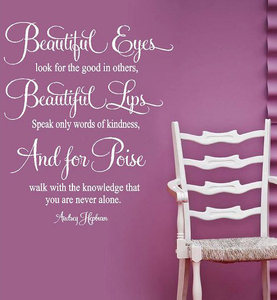 Audrey Hepburn- For Beautiful Eyes-  Vinyl Lettering wall art words quotes graphics decals Art Home decor itswritteninvinyl