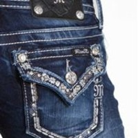 Miss Me Straight Leg Jeans with Sequin Studded Pocket JP7082T2