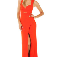 Bariano Katja Curve Slit Mesh Cut Out Maxi Dress in Mandarin Red