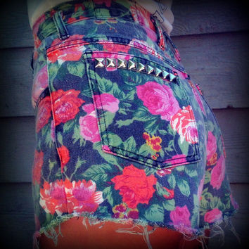 "Vintage High Waisted Floral Studded Cut Off Shorts 27"" Waist"