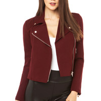 Six Crisp Days Ponte Moto Jacket in Wine