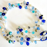 Crochet Lariat Statement Necklace in Shades of Blue