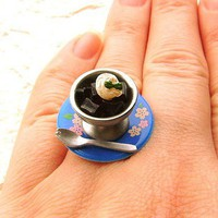Kawaii Ring Coffee Jelly Miniature Food Jewelry CIJ Christmasinjuly