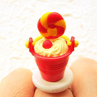 Candy Ice Cream Sundae Banana Ice Cream Miniature Food Ring
