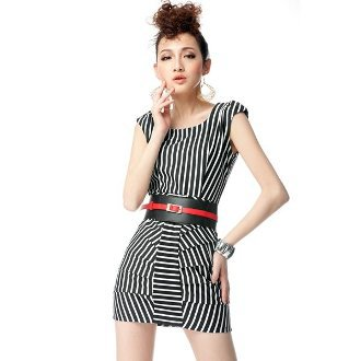 Black And White Striped Thin Dress