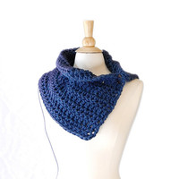 Denim Blue Wool Blend Crochet Cowl Neck Warmer, Winter Fashion Accessories