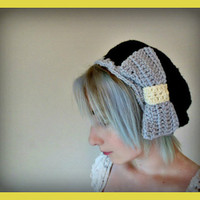 Black Crochet Beret with Over sized Light Grey Bow- Hat Size: Medium