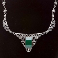 Antique Silver Marcasite and Chrysoprase Necklace