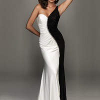 Buy Alluring White and Black One-shoulder Sweep Train Elastic Woven Satin Evening Dress  under 200-SinoAnt.com