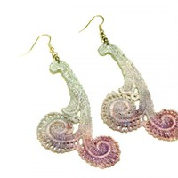 Lace Earrings Hand Dyed - Pearl Pur.. on Luulla