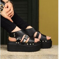 Wholesale Platform sandals sexy buckle gladiator sandal CZ-1154 black - Lovely Fashion