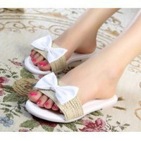 Wholesale Cool slippers color matching flower slippers for girls CZ-1149 white - Lovely Fashion