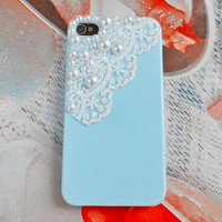 Fashion iphone Pearl lace shell blue hard Case Cover For Apple iPhone 4,4S ,iPhone 4 Case, iPhone 4s Case, iPhone 4 Hard Case,cover-002