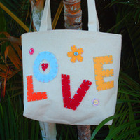Small Canvas Tote Bag Love Tote