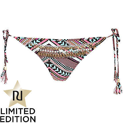 black ethnic chevron print pacha bikini brief