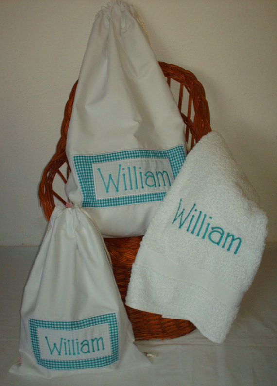 Personalized  Laundry Bags & Towel Gift Set for Baby Boys