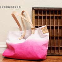 TOTE BAG..Pink (with leather strap)....extra-large size - beach bag size