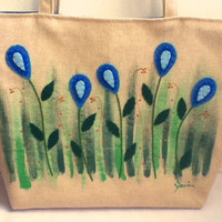 Large Linen Tote Bag Blue Drops Tote Bag,