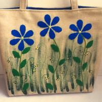 Large Linen Tote Bag Blue Flowers Tote Bag,
