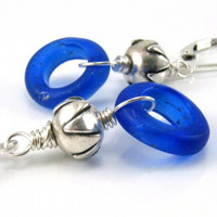 Annular Wound Bead Thai Silver Earrings Cobalt Blue Dogon Beads