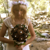 Bridal bouquet rustic pine cone forest fall winter alternative wedding