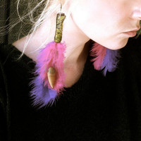 Pink Purple Feather Earrings,Urban Jewelry,Dangle,