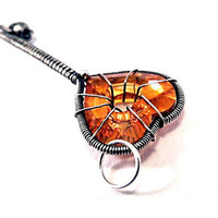 Orange key pendant, silver Swarovski crystal heart shape wire wrapping, the secret garden, unique fashion gift