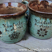 Pair of Personalized Coffee Mugs - Purple glazes or Robin's Egg - Shabby Chic Pottery Handmade Wedding Anniversary