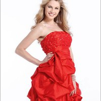 Strapless beaded purple red white sexy Prom Dresses 2012 PDM387