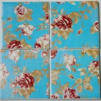 Vintage Rose  Set of four Tile Coasters by MizKake on Etsy