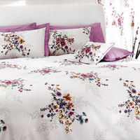 Custom King Size Lilac Fuchsia Pink Blue Floral Bouquet Printed on White Backround Bedding Set