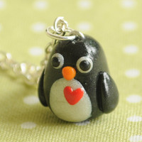Kawaii Penguin Polymer Clay Necklace