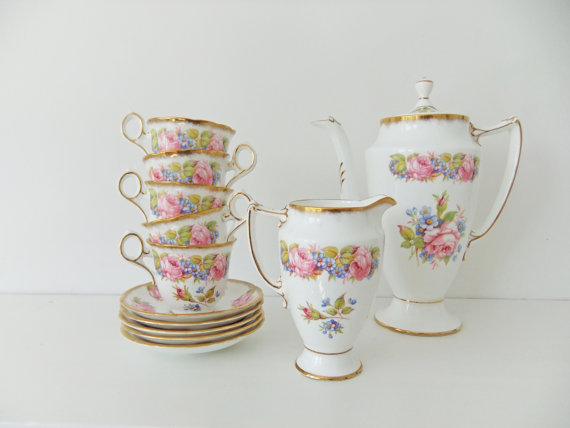China Coffee Set - Samuel Radfords china coffee pot, coffee cups, milk jug - English bone china