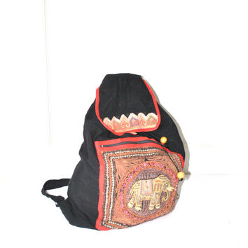 oversized ethnic backpack / large slouchy backpack INDIAN beaded ELEPHANT Ganesh ethnic tribal backpack drawstring book bag