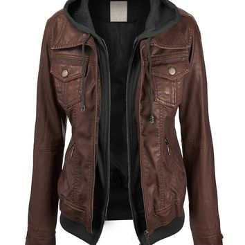 Leather Jacket With Hood Womens - Jacket