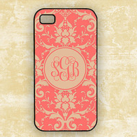 Coral damask Iphone 4 case, Iphone 4 and 4s cover, personalized monogram (9737)