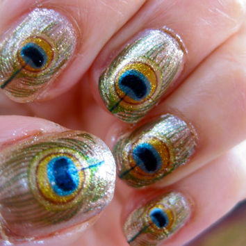 Oshun Nail Decals River Orisha of Love Peacock Feathers
