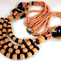 Vintage Multi-Strand Wooden Necklace