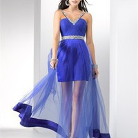 Off-the-shoulder v-neckline beading blue red tulle prom dresses PDM4090