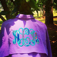 Monogrammed Fishing Shirt with Lilly Pulitzer Fabric