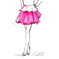 Print from original watercolor and pen fashion illustration by Jessica Durrant titled Peplum & Pink