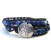 Sand Dollar Sodalite Leather Wrap Bracelet, Denim,