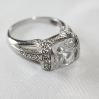 Sterling Ring CZ Cocktail Vintage 1980s CZ Jewelry
