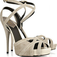 Discount Roberto Cavalli Suede ankle-strap sandals | THE OUTNET
