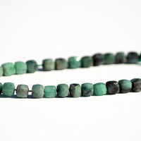 "Natural Green Emerald 5.5 - 6 mm 3D Cubes 8"" Strand"