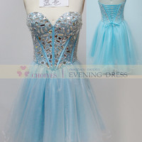 online shop DL82350 Blue Sweetheart crystal stone puffy cocktail dresses uk, View cocktail dresses, CHOIYES party dress Product Details from Chaozhou Choiyes Evening Dress Co., Ltd. on Alibaba.com