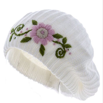 Knit Beret Hat Embroidered Hat Women Beanie Christmas Gifts Guide - By PiYOYO