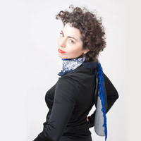 Blue Navy Women Scarf Recycled Fabric  Women Tie Style