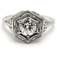 Antique Filigree Old European Cut Diamond Engagement Ring So... - Polyvore