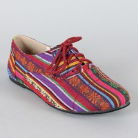 Cambridge-03 Tribal Print Lace up Oxford Flat